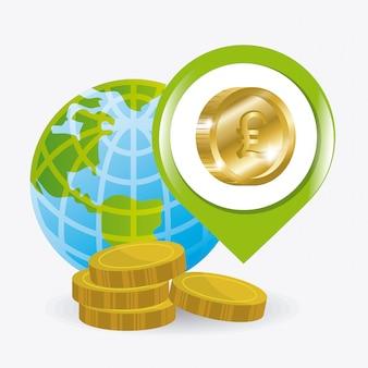 글로벌 경제, 돈 및 비즈니스 디자인.
