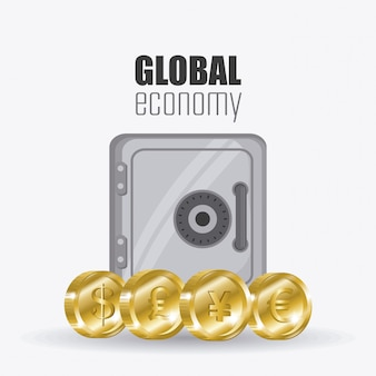 Global economy, money and business design.