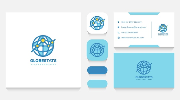 Global economy and statistics logo template and business card