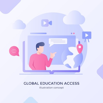 Global education access international development training with modern flat cartoon style.