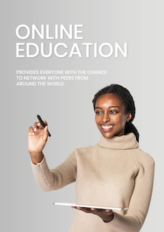 Global education template vector future technology