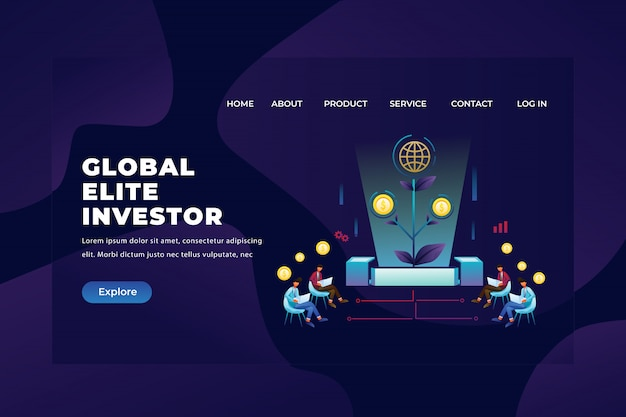Global elite investor groups gather and observe their investments, web page header landing page template