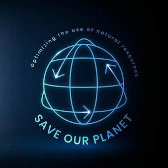 Global environmental logo vector with save our planet text