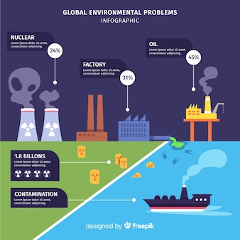 Global environmental problems infographic flat style