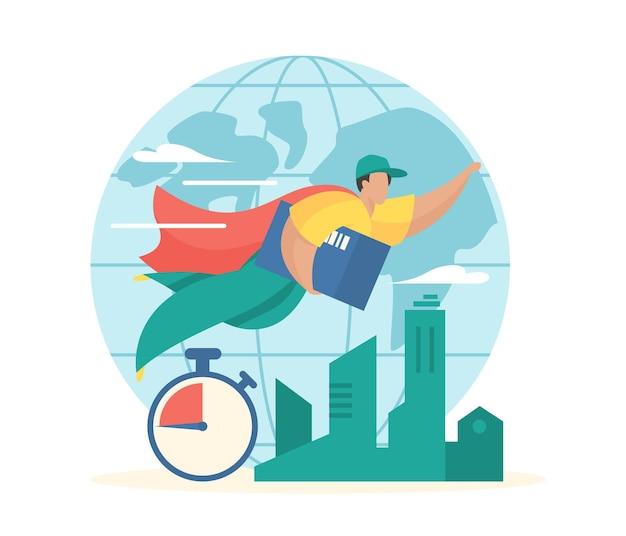 글로벌 특급 배송 케이프의 슈퍼 히어로 택배가 고객에게 소포와 함께 날아갑니다.