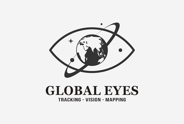 행성 요소가 있는 글로벌 눈 로고 디자인. 프리미엄 벡터