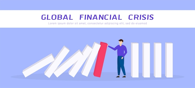 Global financial crisis. businessman stopping falling domino. covid-19 coronavirus economic impact. flat 3d isometric 3d. business management and solution concept. illustration.