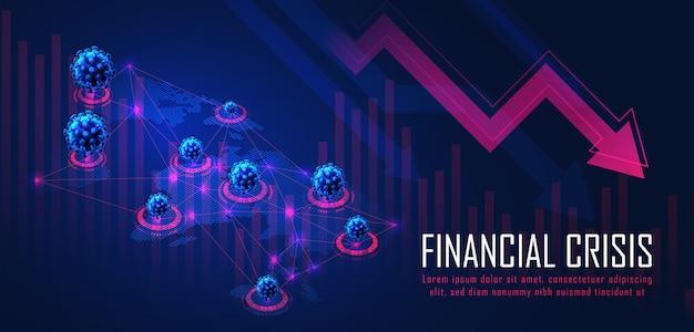 金融投資または経済動向のビジネスアイデアとすべてのアートワークデザインに適したウイルスのパンデミックグラフィックコンセプトによる世界的な金融危機抽象的な金融背景コンセプト