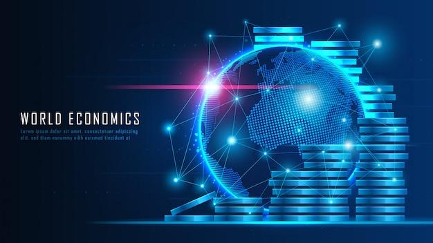 グローバルな金融投資に適したグラフィックコンセプトのグローバルな金融