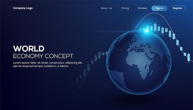 Глобальные финансы в графической концепции, подходящей для глобальных финансовых технологий Premium векторы