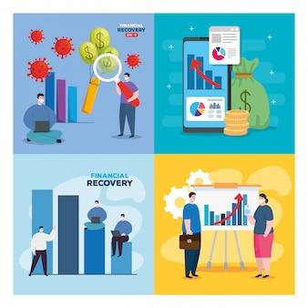 Глобальное финансовое восстановление рынка после 19, набор финансовых иконок дизайн иллюстрации