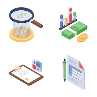 Global and financial trends isometric vectors set