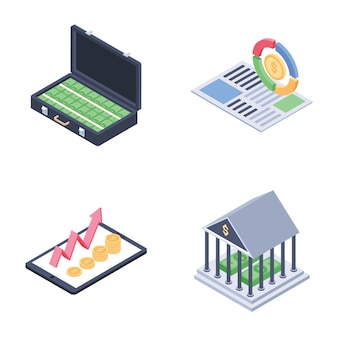 Global, fundraising and financial trends isometric vectors set