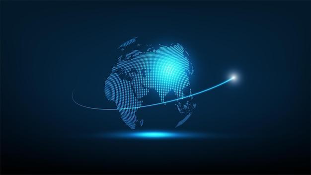 グローバル未来技術ネットワーク接続と高速インターネット、ベクトル図