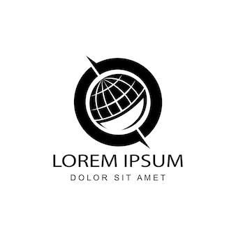 Global, globe, world logo template design vector in isolated white background