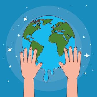 世界的な手洗いの日と溶けた世界のデザインの手、衛生洗浄の健康と清潔
