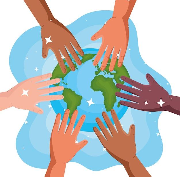 世界的な手洗いの日と世界のデザインの手、衛生洗浄の健康と清潔