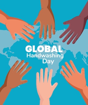 Global handswashing day and hands with world map design, hygiene wash health and clean
