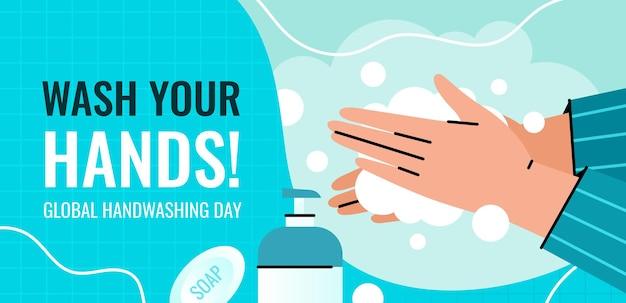 Глобальный день мытья рук баннер. человек моет руки с помощью дозатора пены, чтобы предотвратить заражение.