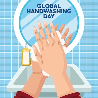 Global handwashing day campaign with hands and foam in bathroom