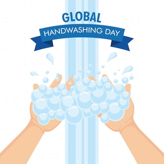 Global handwashing day campaign with hands and foam in ribbon frame illustration design
