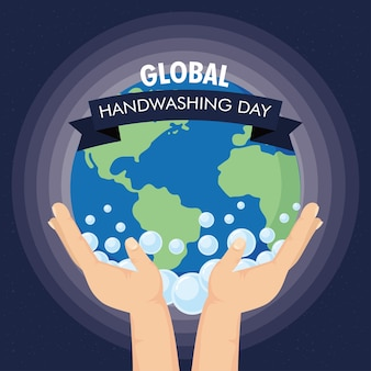 Global handwashing day campaign with hands lifting earth and ribbon frame illustration design