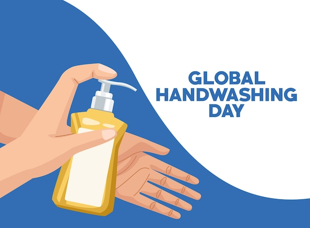 Global handwashing day campaign with hands using soap bottle