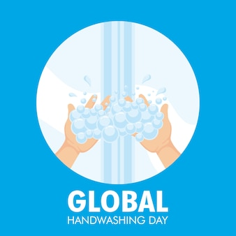Global handwashing day campaign with water and foam in circular frame illustration design