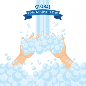 Global handwashing day campaign with water and foam in ribbon frame illustration design