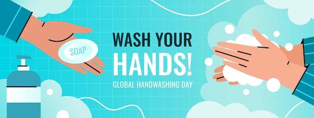 Глобальный день мытья рук горизонтальный баннер. человек моет руки с помощью дозатора пены, чтобы предотвратить заражение. рука протягивает мыло.