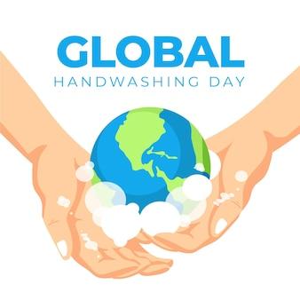 Progettazione globale dell'illustrazione di giorno di lavaggio delle mani