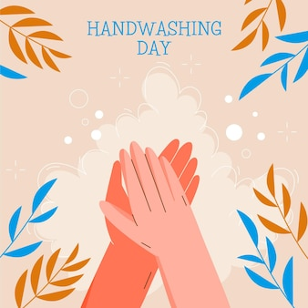 Global handwashing day illustration with leaves