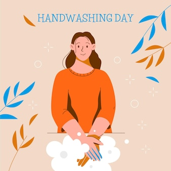 Global handwashing day illustration with woman washing hands