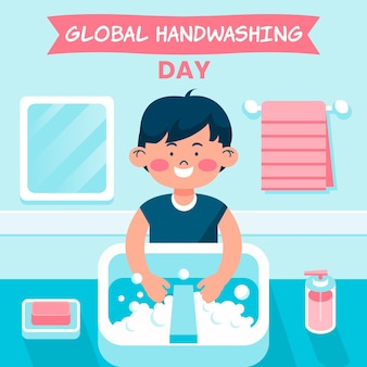 Global handwashing day illustration