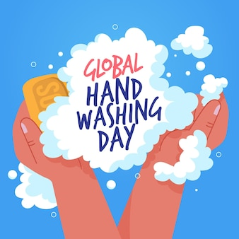 Global handwashing day soap and foam