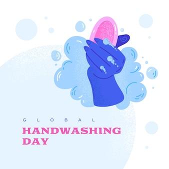 Всемирный день мытья рук. мойте руки. каракули векторные иллюстрации.