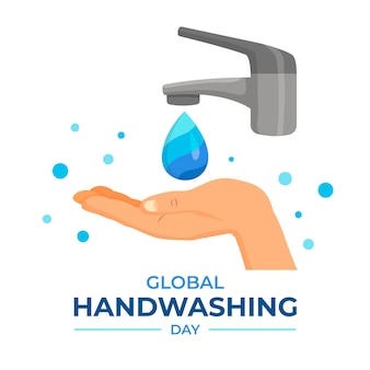 Global handwashing day with hand and tap