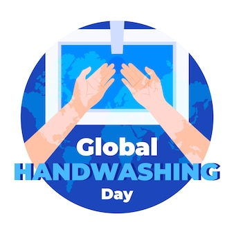 Global handwashing day with hands and sink