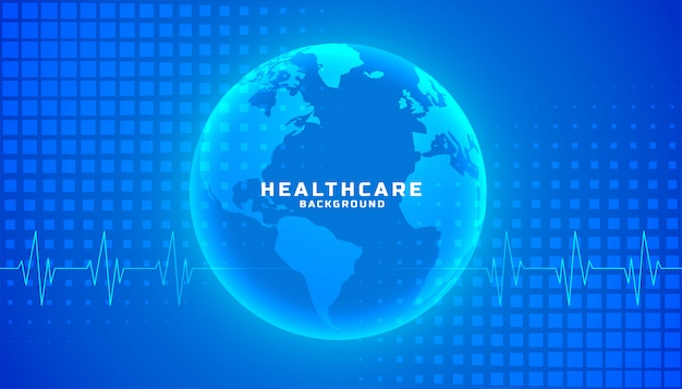 Global healthcare medical background blue color theme