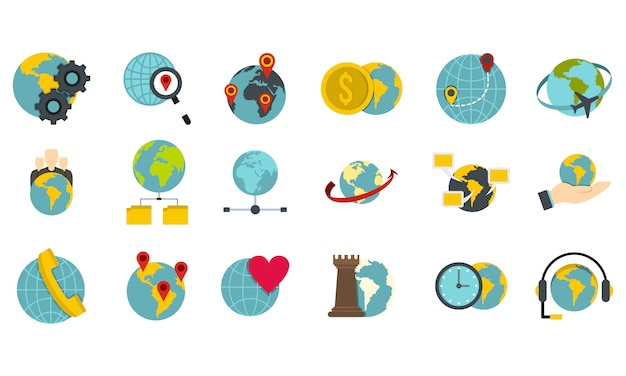 Global icon set. flat set of global vector icons collection isolated