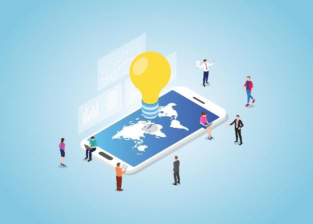 世界地図とスマートフォンのグローバルアイデアコンセプト