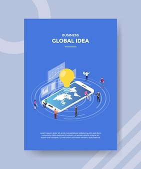 Global idea concept for template banner and flyer