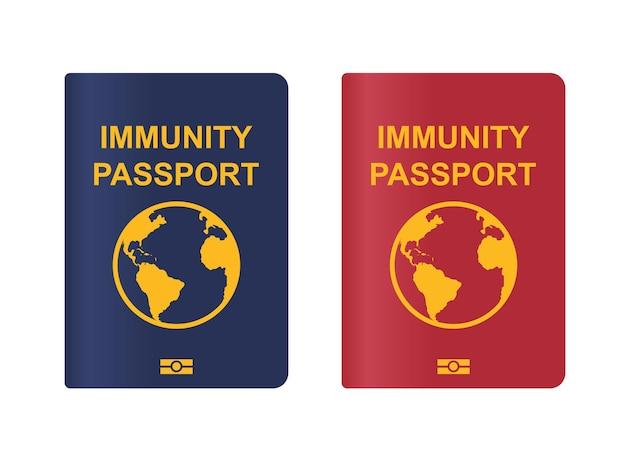 グローバルイミュニティパスポート。コロナウイルス免疫パスアイコン。白い背景で隔離のベクトル図