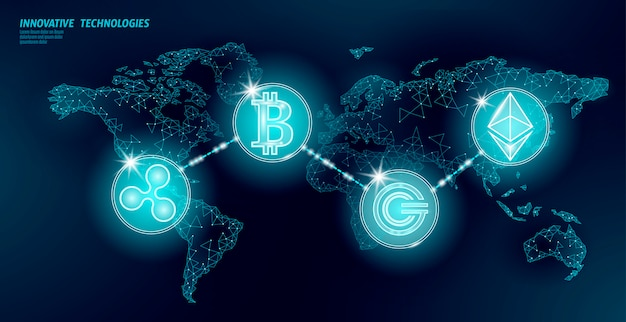 Глобальная международная криптовалюта блокчейна. карта мира низкополигональная современный будущий финансовый банковский дизайн. полигональный треугольник биткойн эфириум рябь gcc бизнес иллюстрация