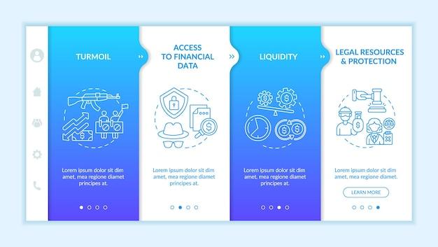 글로벌 투자 자산은 벡터 템플릿을 온보딩하는 데 도전합니다. 아이콘이 있는 반응형 모바일 웹사이트입니다. 웹 페이지 연습 4단계 화면. 선형 삽화가 있는 유동성, 보호 색상 개념