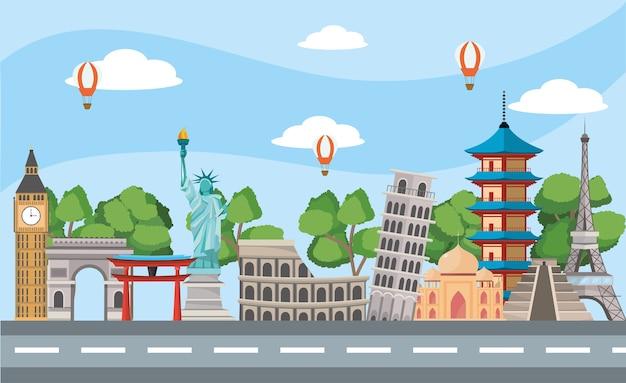 Global journey and international place destination