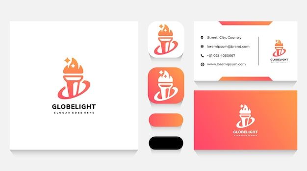 Global light torch logo template and business card