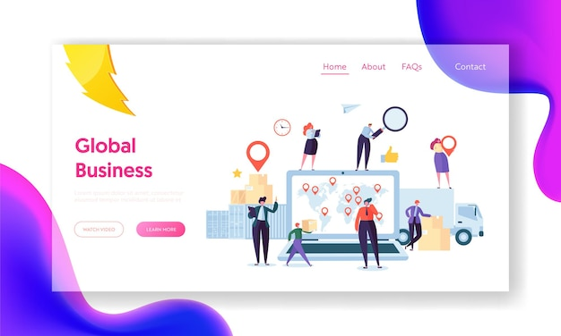 Global logistic business team cooperation landing page.