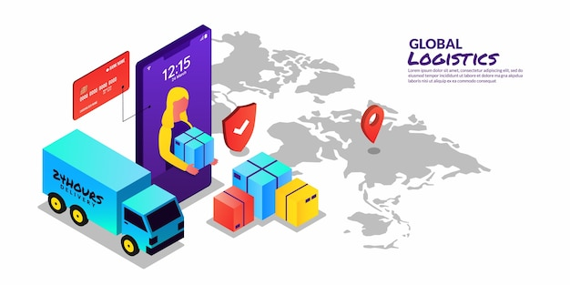 アイソメトリックデザインのグローバルロジスティックコンセプトオンラインデリバリーサービス
