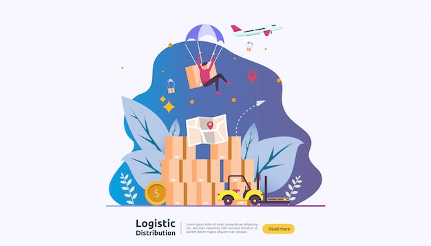 Global logistic distribution service and delivery worldwide shipping banner with people character